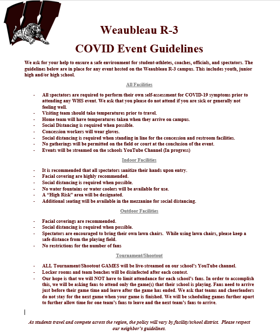 COVID Event Guidelines