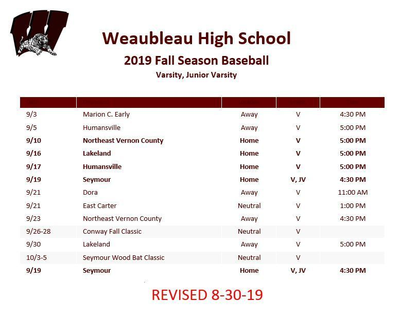 Fall Baseball Schedule - Revised